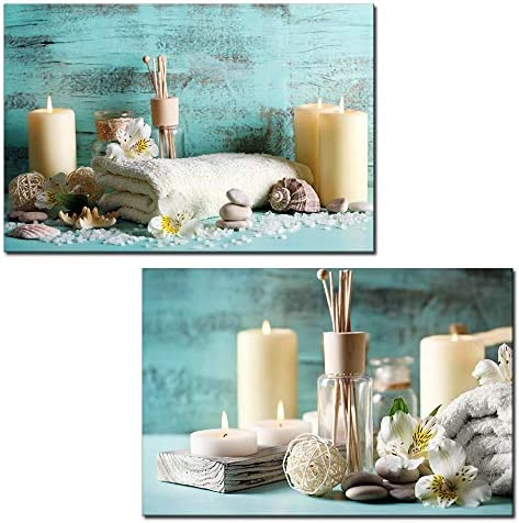 2 Panel Spa Still Life with Candles and Towels x 2 Panels