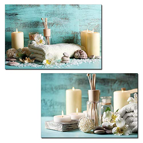 wall26 - 2 Panel Canvas Wall Art - Spa Still Life with Candles and Towels - Giclee Print Gallery Wrap Modern Home Decor Ready to Hang - 16