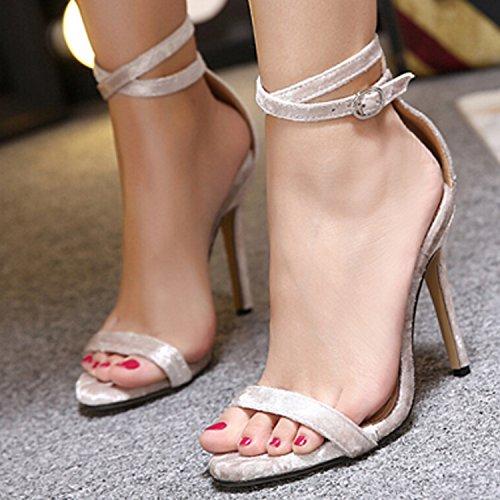 D2C Beauty Womens Metal Buckle Open Toe Stiletto Heeled Dress Sandals Apricot dTAWaYjAdI