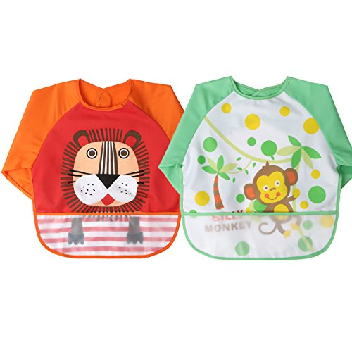 MOMLOVES - Waterproof Sleeved Bib,Infant Toddler Baby Waterproof Bib,6-36 Months (Monkey Toddler Bib)