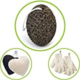 Premium Pumice Stone for Foot Callus - 1 Natural Foot File, 2 Pairs Exfoliating Gloves, Konjac Sponge for Face 2 Pck - Lava Callus Remover, Exfoliation Set to Remove Dead Skin by ZEN ME