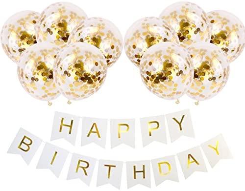 Geila Feliz cumpleaños Banner & 10 Piezas Globos de oro del confeti de 12 pulgadas Globos de fiesta (Confeti ha sido puesto en los globos) Para ...