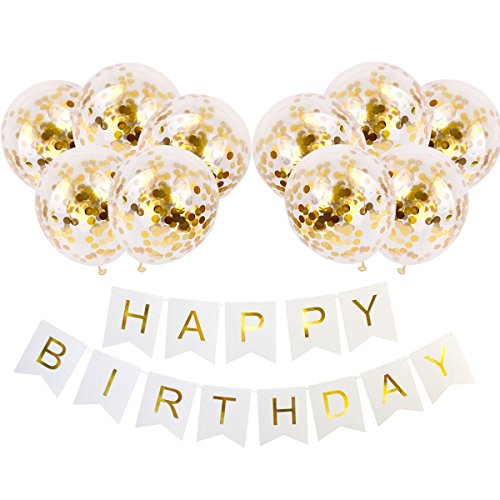 Ezeso Happy Birthday Banner & 10 Pieces 12 inch Gold Confetti Dots Balloons Party Balloons for Birthday Party Decorations (10 pcs Gold dot Balloons+ White Banner)