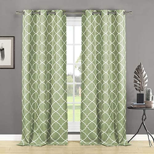 Home Maison Nataly Geometric Grommet Window Curtain 2 Panel Drapes, 38 x 84, Sage Green