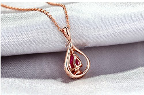 GOWE 1.01ct Pink Pear Cut Tourmaline & Diamond Real 14k Gold Beautiful Engagement Pendant 1