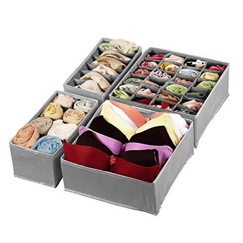 printemps Closet Underwear Organizer,Foldable Storage Box Drawer Divider Kit Set of 4 by printemps