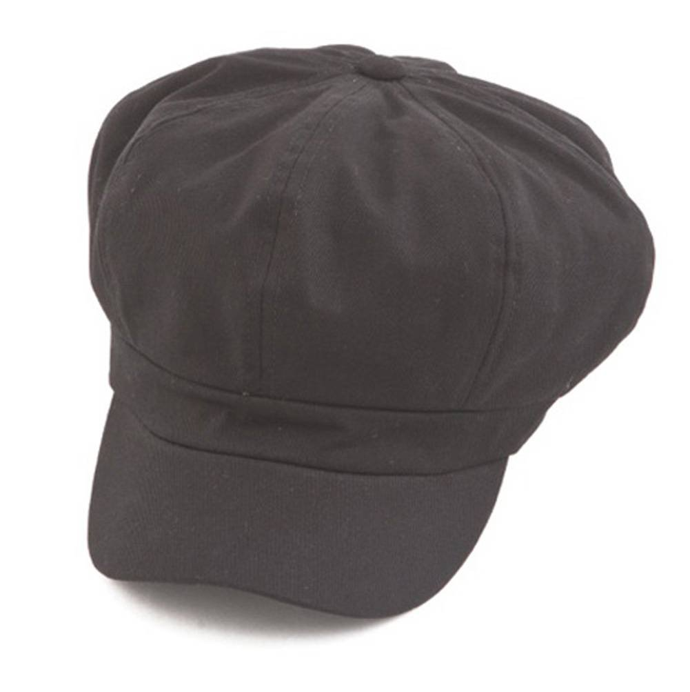 Cotton Elastic Newsboy Cap - Black