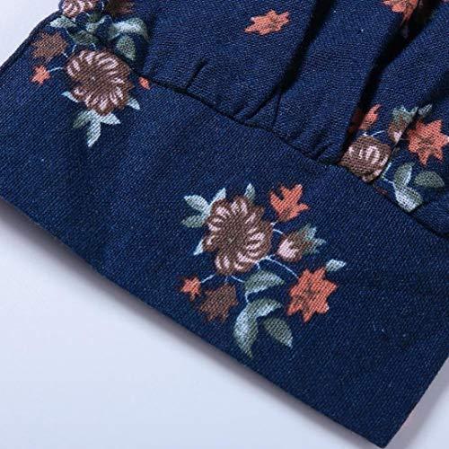 V DContractE Femmes Vrac Col Haut Courtes en Bleu Noir en Chemise Tops Moiti en Floral SOMESUN Vintage Manches Blanc Coton Vrac V Dame Lin Boho Print Blouse Col en Impression fdUZxnpTwq