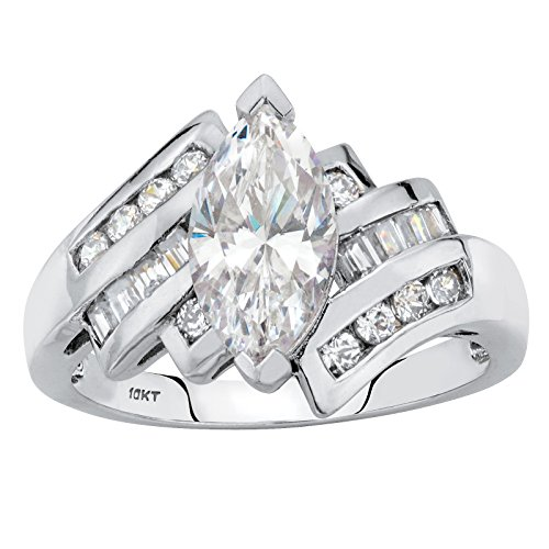 Solid 10k White Gold Marquise Cut White Cubic Zirconia Bypass Engagement Ring Size 9 ()