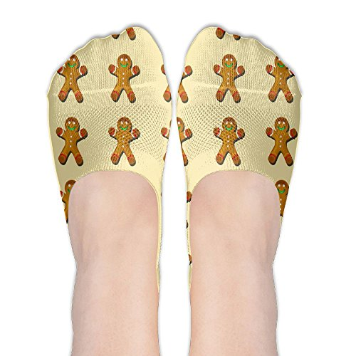 Womens Gingerbread-man-cookies Cotton Thin Hidden No Show Casual Liner Athletic Running Socks Non Slip Flat Boat - Have Soles No Gingers