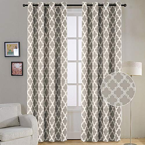 Flamingo P Light Block Blackout Curtains Soft Grommet Top Energy Efficient Thermal Insulated Blackout Curtain Panels/Window Drapes, 52 by 96 inches, Dove, 2 Pieces (Paint Colors That Go Well With Revere Pewter)