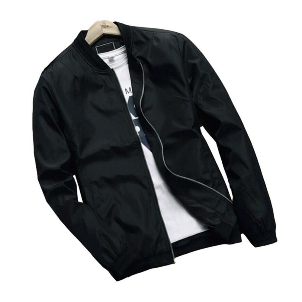 Hzcx Fashion men's classic soild color thin light weight flight bomber jacket SJXZ1319-16018-36-B-US XL(46) TAG 4XL
