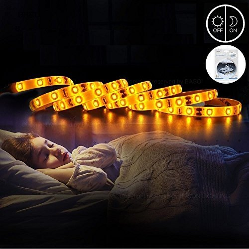Motion Activated Under Bed Light, Fixinus 4FT LED Motion Sensor Night Light Strip, Warm White Bedside Light with Automatic Shut Off Timer Perfect for Bedroom, Baby Crib Night Light