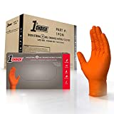 1st Choice - 1PONXL - Case of 400 - Extra Large, 8 mil, Heavy Duty Orange Disposable Nitrile Gloves, Premium Diamond Texture, Industrial Grade, Latex-Free