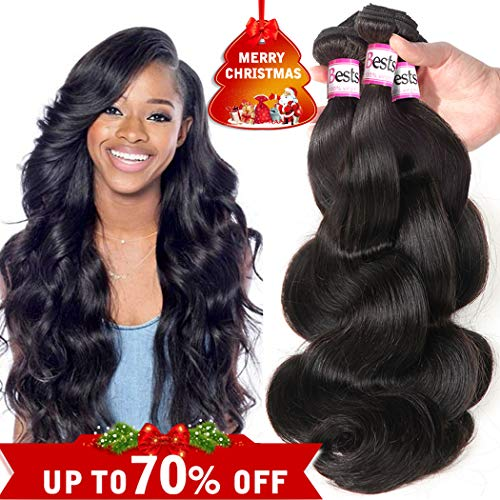 Hair Remy Human (Bestsojoy Brazilian Virgin Hair Body Wave 3 Bundles Remy Human Hair Weaves 100% Unprocessed Hair Extensions Natural Color 8A (12 14 16))