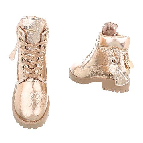 Ital-Design Schnürstiefeletten Damenschuhe Schnürstiefeletten Blockabsatz Schnürer Schnürsenkel Stiefeletten Gold LS3007