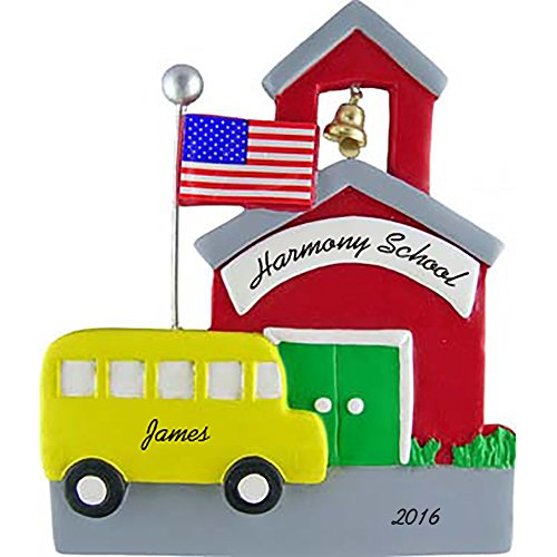 (Schoolhouse with School Bus Personalized Christmas Ornament - American Flag - 4.5