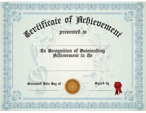 Music Achievement / Generic Certificate, Pack of Ten ()