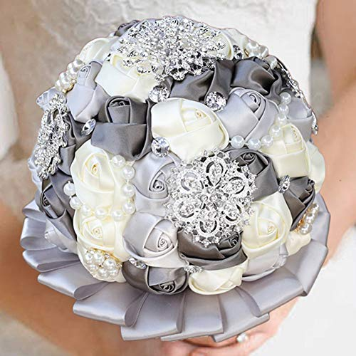 - WIFELAI-A Silver Rhinestone Bridal Bouquet,Delicate Satin Rose Diamond Bridal Bouquet with Boutonniere and Wrist Flower (Dia7.87inchH11inch Silver Mixed W3217A)
