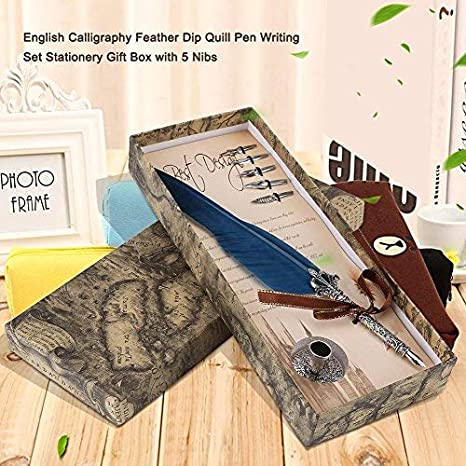 black friday HILITAND Calligraphy Feather Quill Pen Set With Pen Stand and 5pcs Stainless Steel Nibs in Different Size Blue