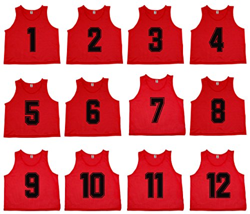 Oso Athletics Set of 12 Premium Mesh Numbered Scrimmage Vest Pinnies Team Practice Jerseys for Children, Youth, and Adult Sports Basketball, Soccer, Football, Volleyball, Lacrosse (Red (#1-12), Adult)