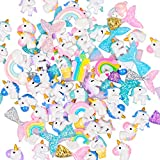 TSLIKANDO 90pcs Slime Charms with Mermaid Tails/Unicorns/Rainbows Slime Beads Resin Flatback for Scrapbooking DIY Crafts
