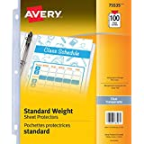 "Avery Standard Weight Clear Sheet Protectors, Fits 8.5"" x 11"", Acid-Free, Archival Safe, Top Loading, 100 Sheets (75535)"