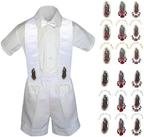 6efac849e Leadertux Baby Boy Christening White Shorts Shirt Set Bow tie Guadalupe  Maria Stole Sm-4T