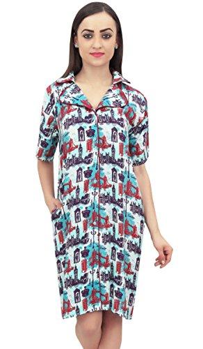 with Print Green Bimba Pockets Night Sleepshirt Women's Architect Light Dress YUOCqxFaw