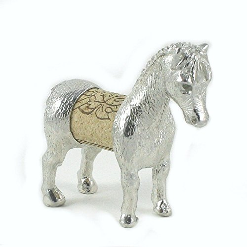 Horse Sculpture Displays Your Wine Cork - Handcrafted Pewter Made in USA - Wine and Horse Lover Gift
