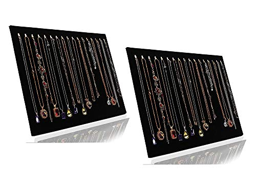 JIFF Velvet Necklace Jewelry Organizer/Tray/Pad/Showcase/Display case (2 Pack-Black 17 Hook Necklace Display)