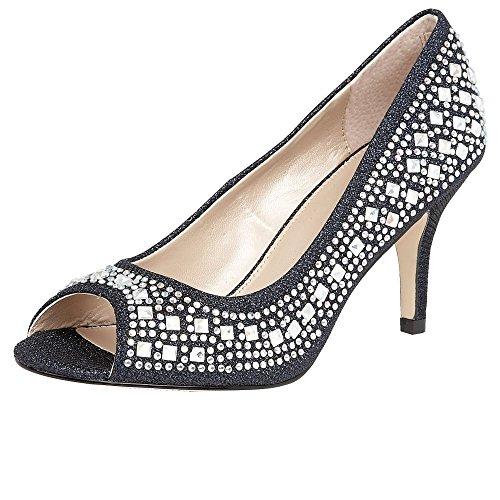 Lotus Serenity Womens Open Toe Court Shoes NAVY/DIAMANTE