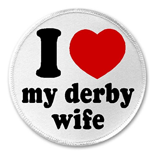 "I Love My Derby Wife - 3"" Sew / Iron On Patch Roller Skate S"