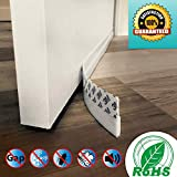 Door Draft Stopper Under Door Seal for Exterior/Interior Doors, Door Sweep Strip Under Door Draft Blocker, Window Seal Strip Soundproof Door Bottom Weather Stripping, Self Adhesive Foam,White