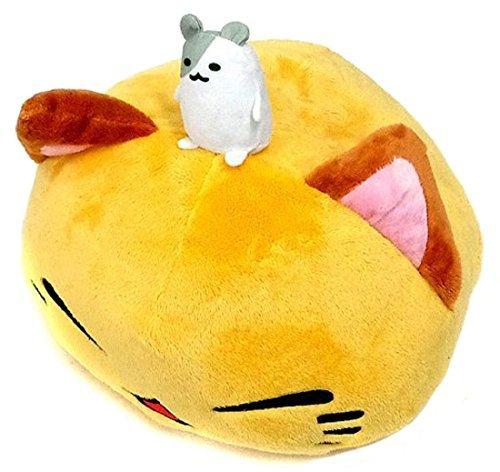 FuRyu Nemuneko Cute and Fluffy Cat Plush 15'' with Little Hamster ~ Large Yellow Cat Kitty Neko Plush by Furyu