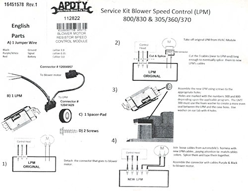 Apdty 112822 Blower Motor Resistor Speed Control Upgrade