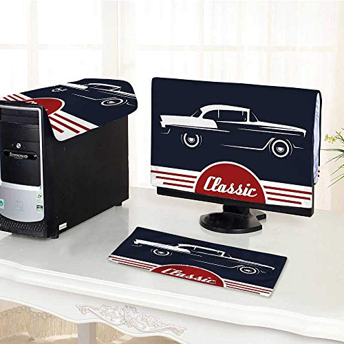 Auraisehome Computer Three-Piece dust Cover Nostalgic Car Figure with Classic Typography Emblem Auto Icon Vintage Graphic Indigo Ruby Protect Your Computer /27