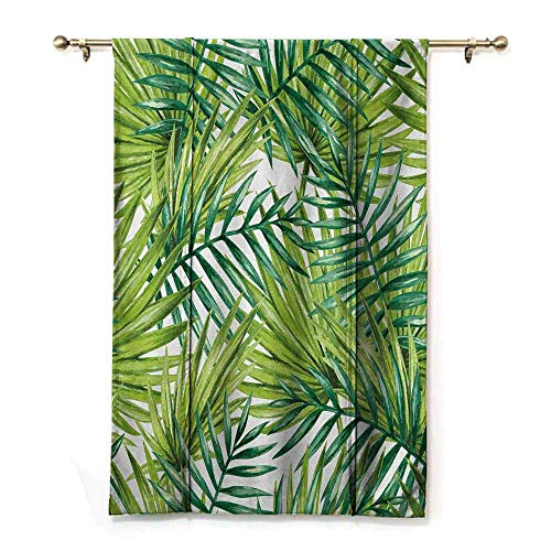 Homrkey Insulated Blackout Blinds Plant Watercolor Tropical Palm Leaves Colorful Illustration Natural Feelings Darkening and Thermal Insulating W32 xL72 Fern Green Lime Green