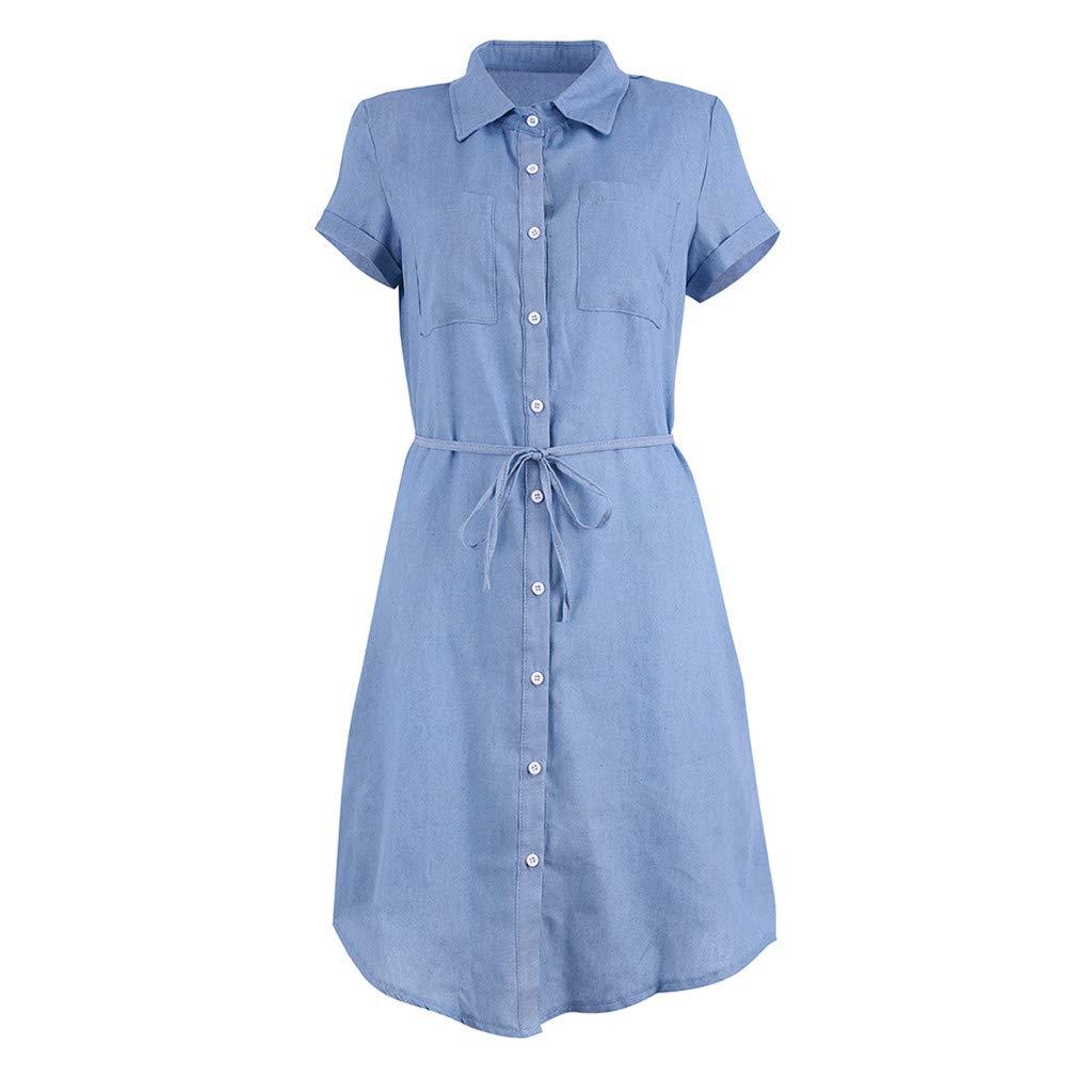 Ghazzi Women Dresses Casual Short Sleeve Mini Shirt Dress Summer Button Down Denim Tunic Top Solid Sundress Party Dress