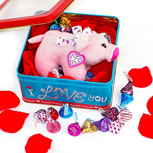 'Hogs and Kisses' and Sweet Valentine Wishes - Hershey Kiss Chocolate Gift Basket with Plush Pig