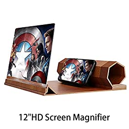 Screen Magnifier for Cell Phone, 12″ 3D HD Smartphone Magnifier Foldable Phone Stand with Screen Amplifier Cell Phone Magnifier Suitable for All Smartphones (Beige)