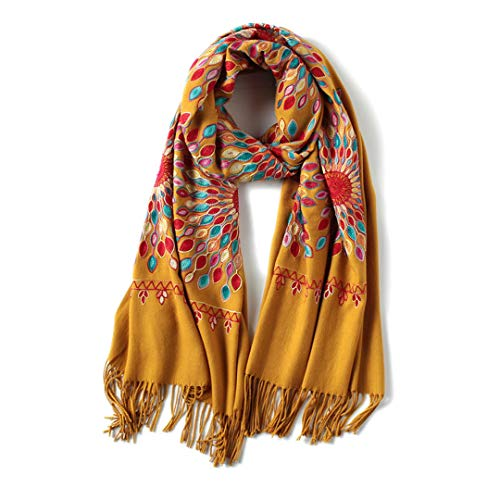 Burberry Women Cashmere Scarf - Winter Scarf For Women Vintage Embroidery Thick Warm Cashmere Scarves Shawls And Wraps yellow