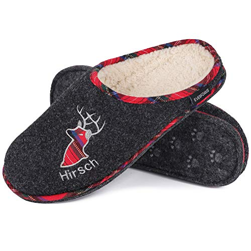 Men's Comfy Boiled Wool Slippers Fuzzy Sherpa Plush House Slippers with Deer Pattern Decor (11-12 M US, Dark Gray) (Mens Boiled Slippers)