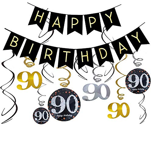 (90th Birthday Banners/90th Birthday Decorations, Mom/Dad 90th Birthday Party Supplies for 90th Birthday Party)