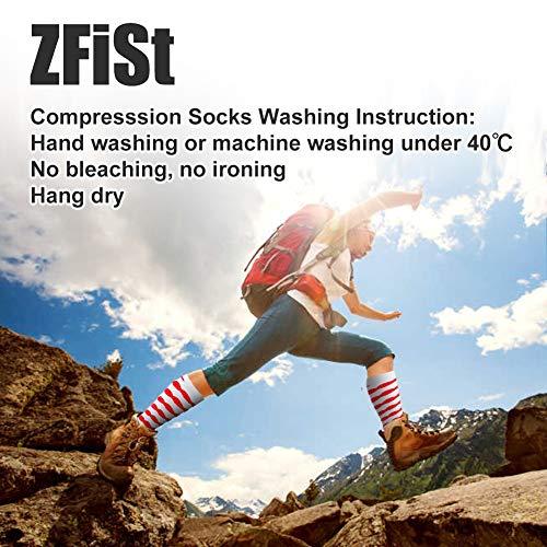 ZFiSt Compression Socks Women Men Nurse, 2/3/4Pair 20-30 mmHg Sport Running Compression Socks for Edema Diabetic Varicose Veins Flight Pregnancy (4Color4, Small/Medium)