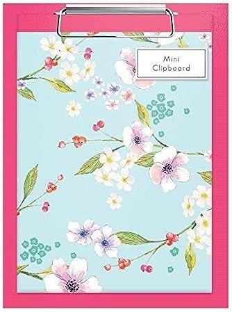 Mini Pink Klemmbrett /& A5 Notizbuch Regel Papier Blumenmuster Bl/üten Design Geschenk
