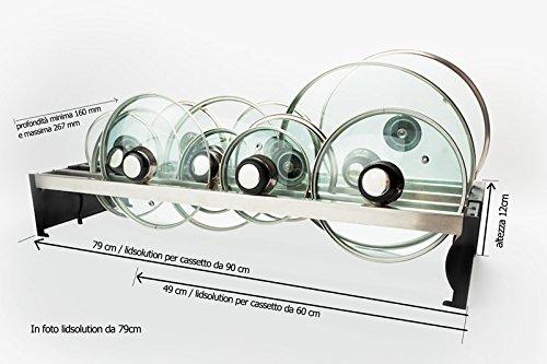 Lid Solution - Soporte para tapas de acero inoxidable, ancho ajustable (4 compartimentos, negro o azul): Amazon.es: Hogar