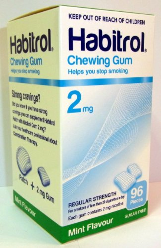 Coated Nicotine Gum (3 boxes Habitrol Nicotine Gum, 2mg MINT flavor COATED gum. 288 Pieces)