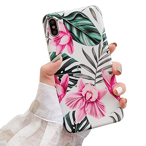 (Ownest Compatible with iPhone X/XS Case for Girls Woman Green Leaves with Flowers Pattern Summer Romantic Beauty Elegant Soft Slim TPU Protective for iPhone X/XS-Pink Flowers)