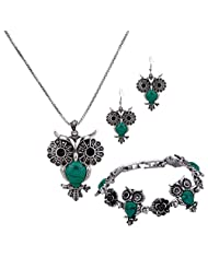YAZILIND Jewelry Sets Silver Plated Vintage Turquoise Pendant Necklace Green Owl Earrings Bracelet for Women Gift